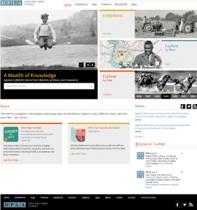 DPLA home page screenshot, October 2013