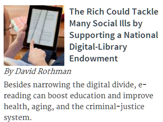 LibraryCity's national digital library endowment proposal makes the Chronicle of Philanthropy